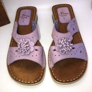 LS Life Stride Lavender Open Toe Slide On Sandals-8